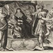 Louis XIV enfant assis sur un trône à côté de sa mère est entouré de trois figures allégoriques la Justice, la Vérité et la Paix