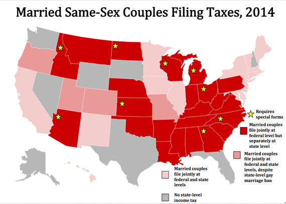 State requirements for married same-sex couples filing taxes in 2014, based on information provided by the Human Rights Campaign (PHOTO CREDIT: THE ATLANTIC)