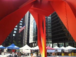 Farmer's market are often located in the most interesting parts of town. Chicago's Federal Plaza market sits in the heart of the Loop and shares space with the giant Calder Flamingo.