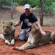 Zoom Vacations Owner, Bryan Herb makes a few new friends in Africa