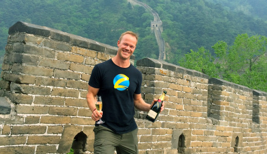 Enjoying champagne with our group on the Great wall of China
