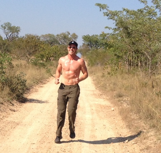 Training for a marathon in the African bush