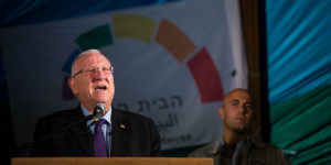 Israel's President Reuven Rivlin at anti-violence and anti-homophobia rally on August 1.  (Photo: Yonatan Sindel/Flash90)